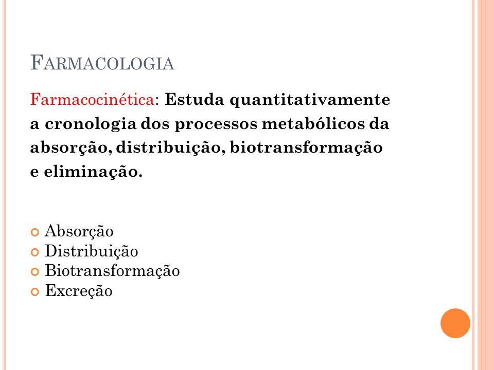 F ARMACOLOGIA Farmacocinética: Estuda quantitativamente a cronologia dos processos metabólicos da absorção, distribuição, biotransformação e eliminaçã