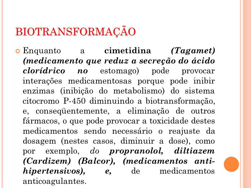 BIOTRANSFORMAÇÃO Enquanto a cimetidina (Tagamet) (medicamento que reduz a secreção do ácido clorídrico no estomago) pode provocar interações medicamen