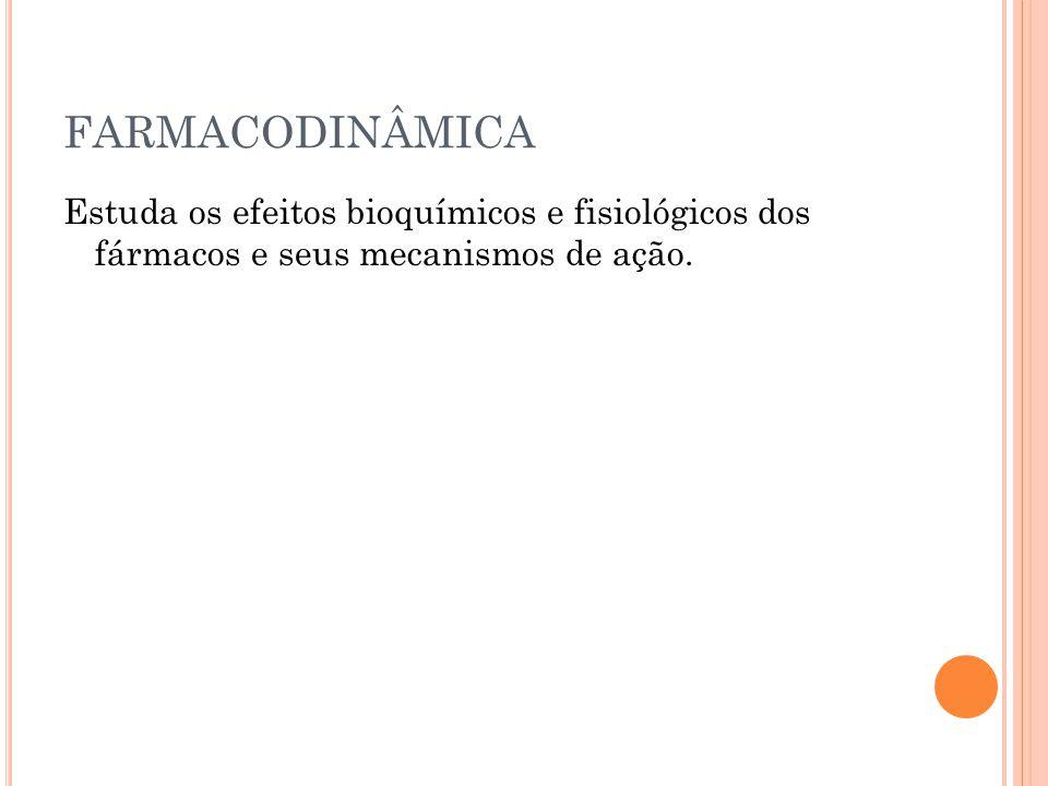 FARMACODINÂMICA Estuda os efeitos bioquímicos e fisiológicos dos fármacos e seus mecanismos de ação.