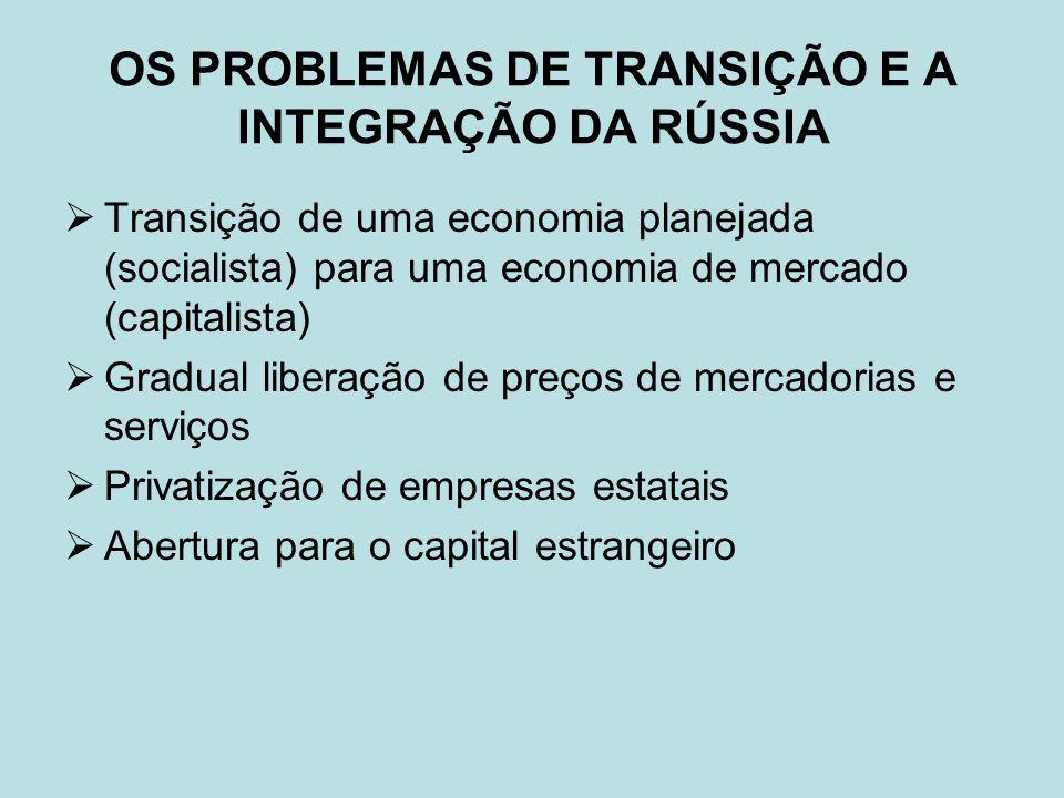 OS PROBLEMAS DE TRANSIÇÃO E A INTEGRAÇÃO DA RÚSSIA Transição de uma economia planejada (socialista) para uma economia de mercado (capitalista) Gradual liberação de preços de mercadorias e serviços Privatização de empresas estatais Abertura para o capital estrangeiro