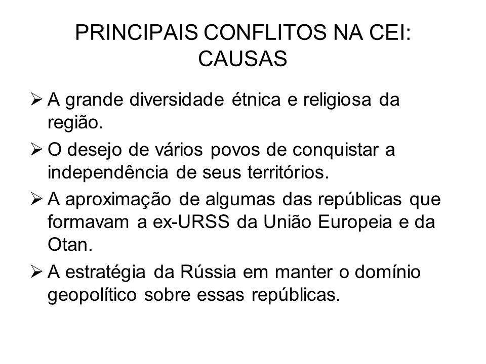 PRINCIPAIS CONFLITOS NA CEI: CAUSAS A grande diversidade étnica e religiosa da região.