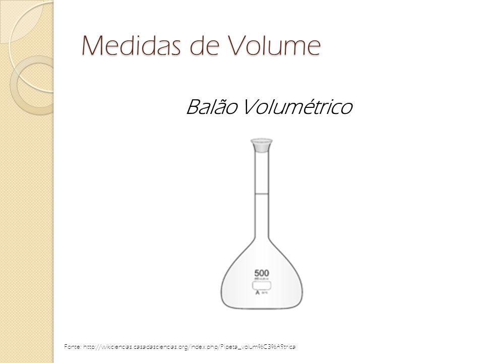 Medidas de Volume Balão Volumétrico Fonte: http://wikiciencias.casadasciencias.org/index.php/Pipeta_volum%C3%A9trica