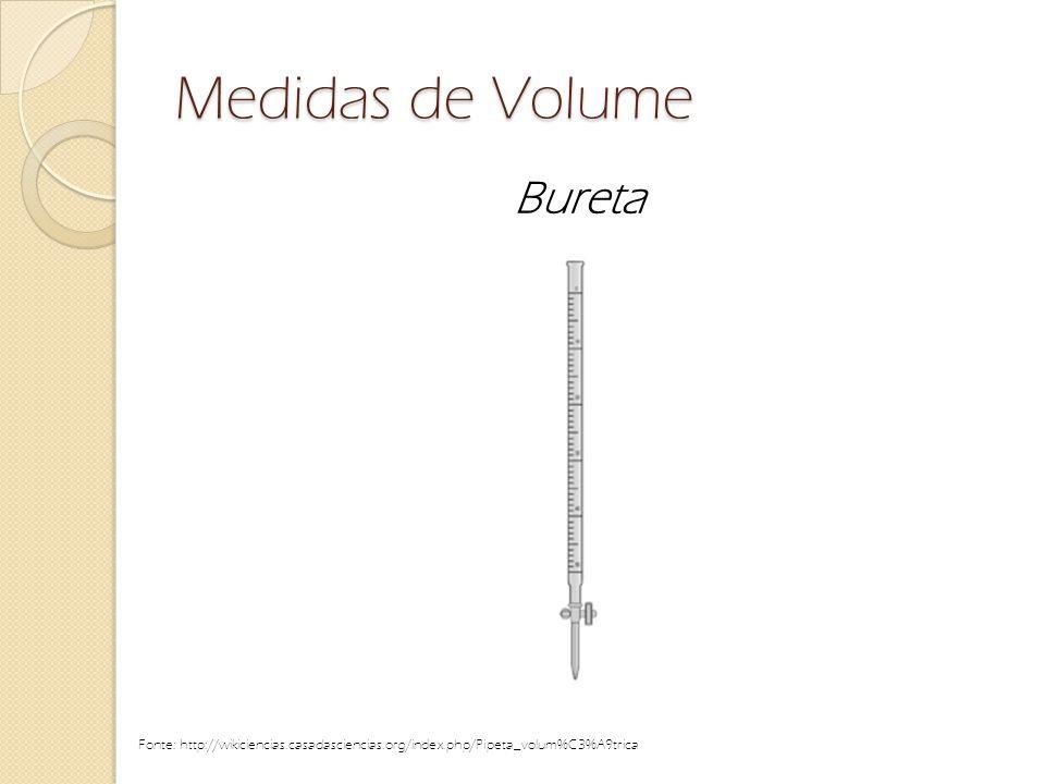 Medidas de Volume Bureta Fonte: http://wikiciencias.casadasciencias.org/index.php/Pipeta_volum%C3%A9trica