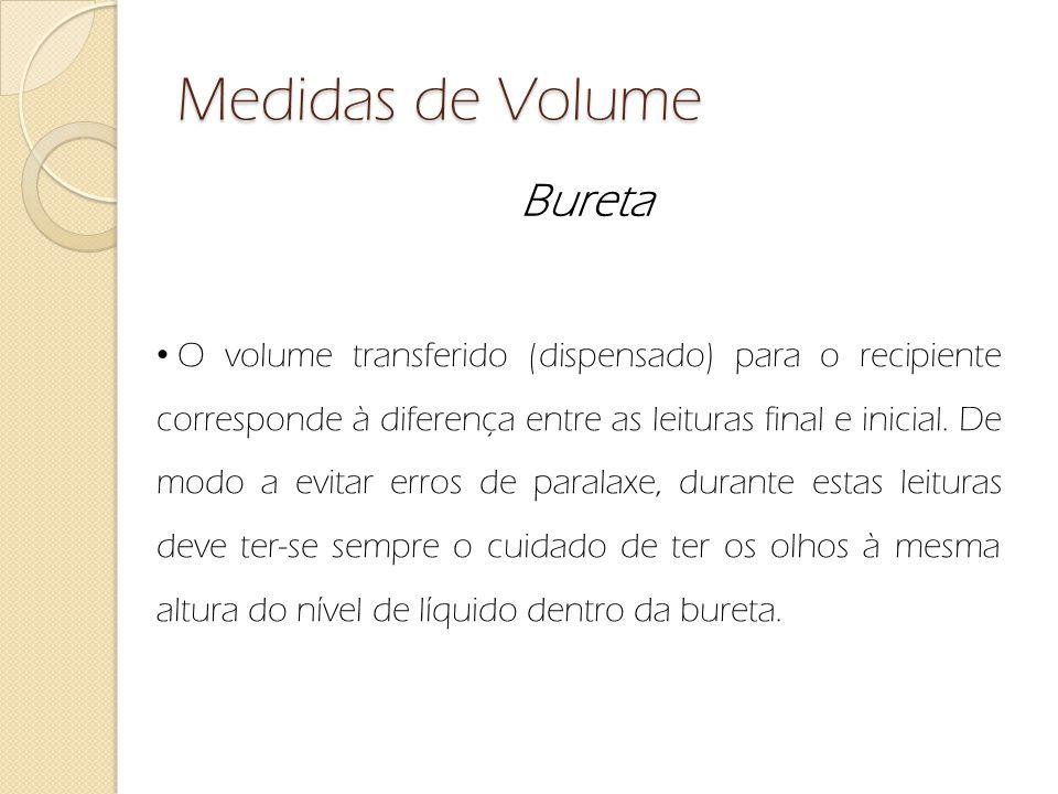 Medidas de Volume Bureta O volume transferido (dispensado) para o recipiente corresponde à diferença entre as leituras final e inicial. De modo a evit