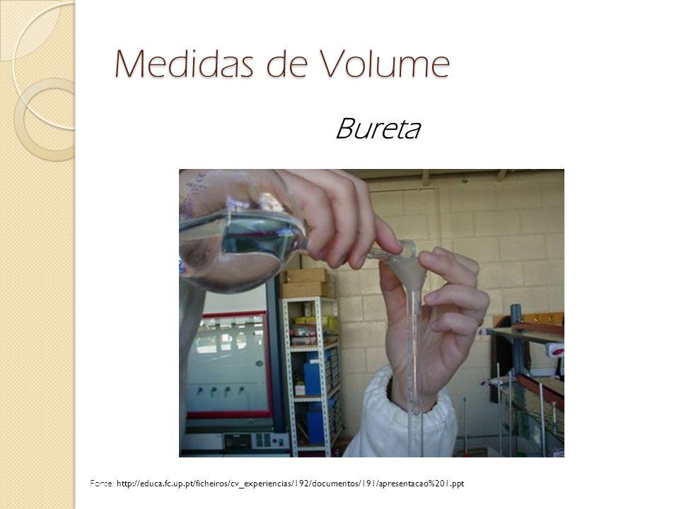 Medidas de Volume Bureta Fonte: http://educa.fc.up.pt/ficheiros/cv_experiencias/192/documentos/191/apresentacao%201.ppt