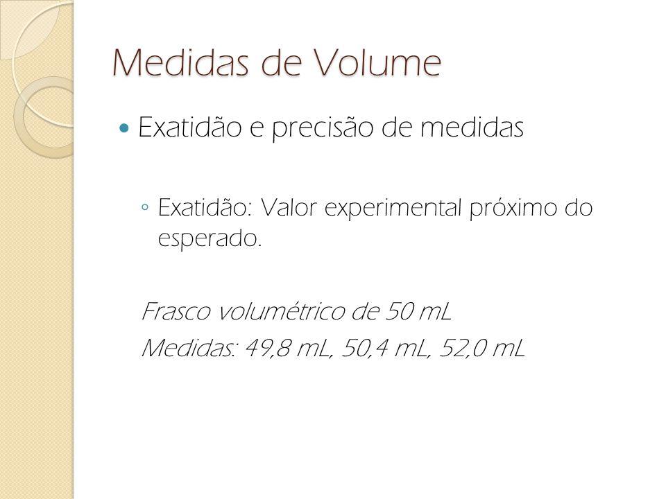 Medidas de Volume Exatidão e precisão de medidas Exatidão: Valor experimental próximo do esperado. Frasco volumétrico de 50 mL Medidas: 49,8 mL, 50,4