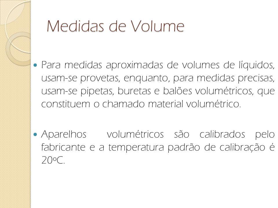 Medidas de Volume Para medidas aproximadas de volumes de líquidos, usam-se provetas, enquanto, para medidas precisas, usam-se pipetas, buretas e balõe