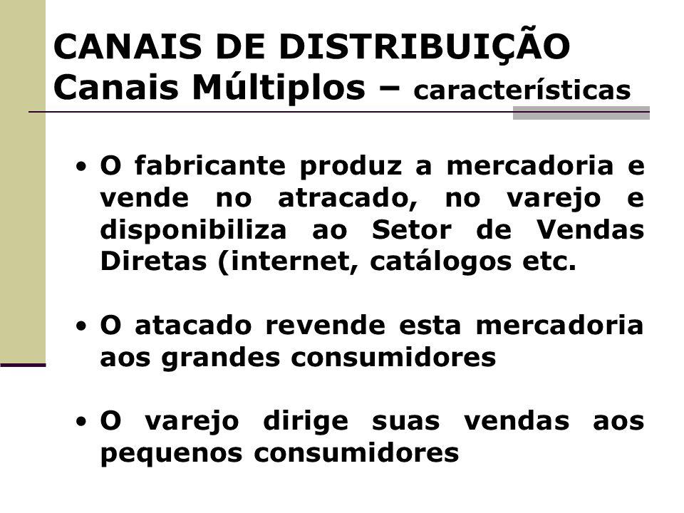 CANAIS DE DISTRIBUIÇÃO Canais Múltiplos – características O fabricante produz a mercadoria e vende no atracado, no varejo e disponibiliza ao Setor de