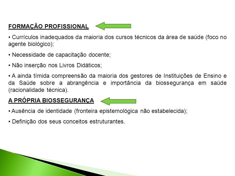 FORMAÇÃO PROFISSIONAL Currículos inadequados da maioria dos cursos técnicos da área de saúde (foco no agente biológico); Necessidade de capacitação do