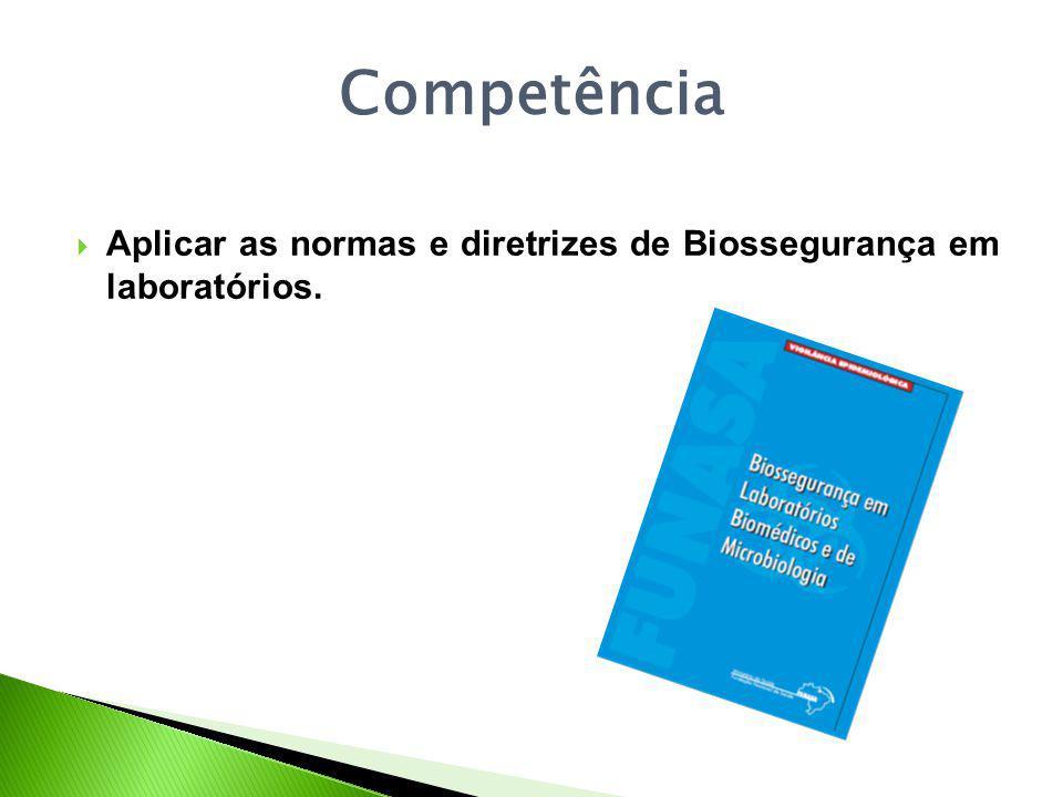 Competência Aplicar as normas e diretrizes de Biossegurança em laboratórios.
