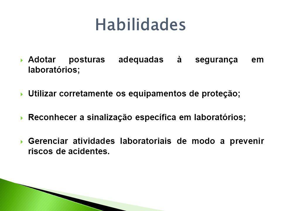 Habilidades Adotar posturas adequadas à segurança em laboratórios; Utilizar corretamente os equipamentos de proteção; Reconhecer a sinalização específica em laboratórios; Gerenciar atividades laboratoriais de modo a prevenir riscos de acidentes.