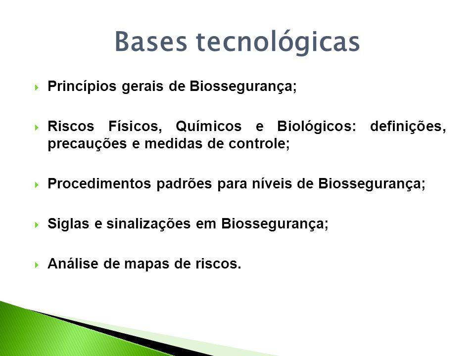 Bases tecnológicas Princípios gerais de Biossegurança; Riscos Físicos, Químicos e Biológicos: definições, precauções e medidas de controle; Procedimentos padrões para níveis de Biossegurança; Siglas e sinalizações em Biossegurança; Análise de mapas de riscos.