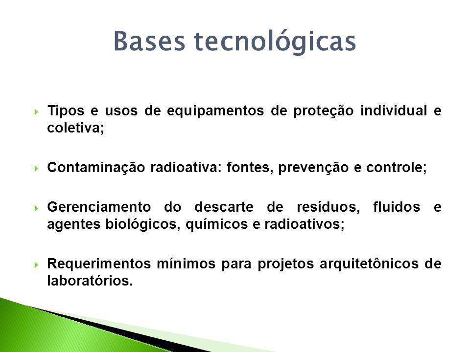 Bases tecnológicas Tipos e usos de equipamentos de proteção individual e coletiva; Contaminação radioativa: fontes, prevenção e controle; Gerenciamento do descarte de resíduos, fluidos e agentes biológicos, químicos e radioativos; Requerimentos mínimos para projetos arquitetônicos de laboratórios.