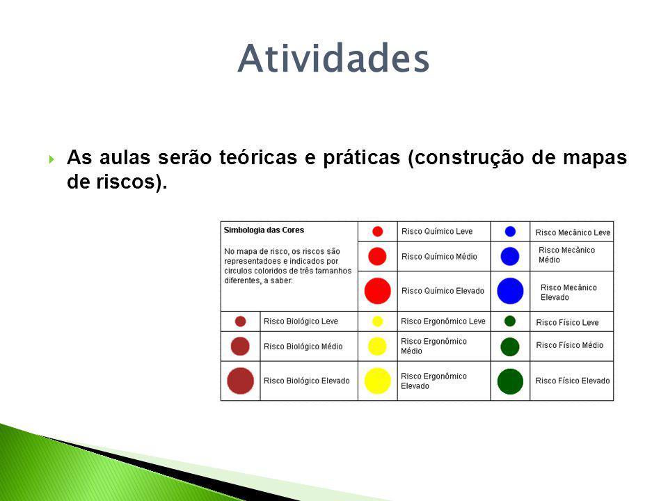 Atividades As aulas serão teóricas e práticas (construção de mapas de riscos).