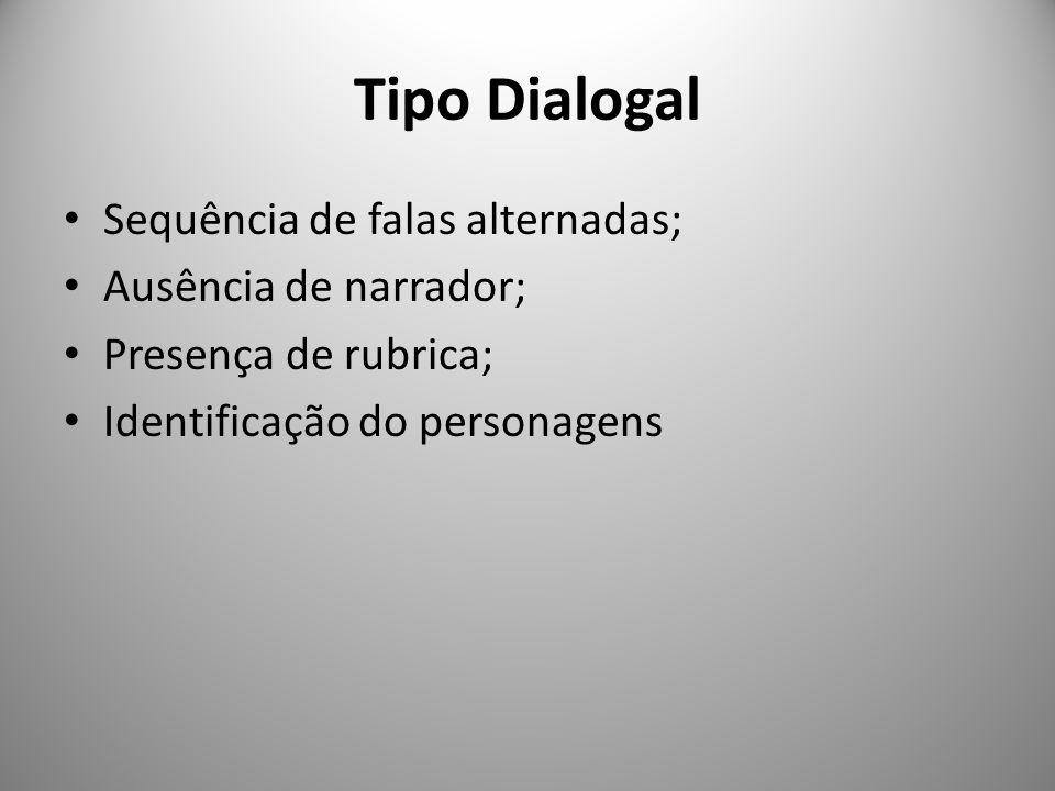 Tipo Dialogal Sequência de falas alternadas; Ausência de narrador; Presença de rubrica; Identificação do personagens