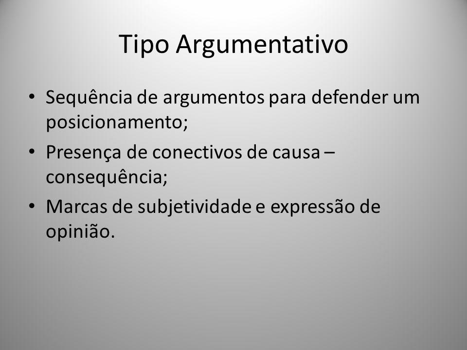 Tipo Argumentativo Sequência de argumentos para defender um posicionamento; Presença de conectivos de causa – consequência; Marcas de subjetividade e