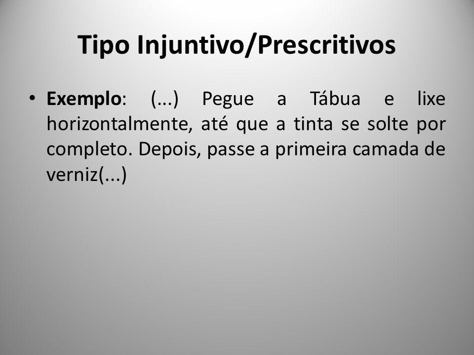 Tipo Injuntivo/Prescritivos Exemplo: (...) Pegue a Tábua e lixe horizontalmente, até que a tinta se solte por completo. Depois, passe a primeira camad