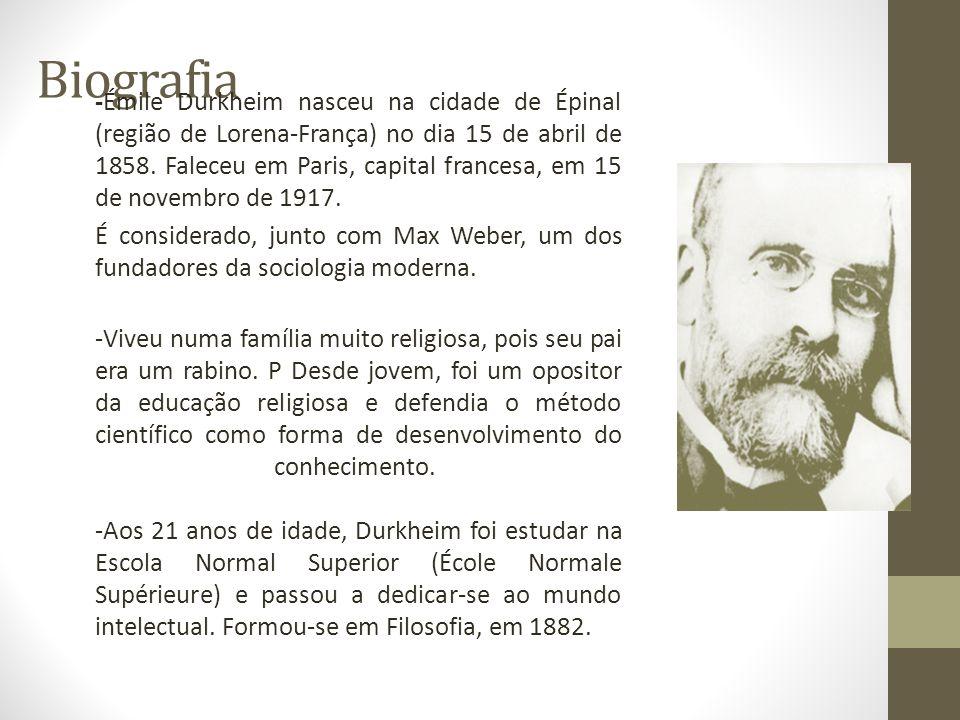 Biografia -Émile Durkheim nasceu na cidade de Épinal (região de Lorena-França) no dia 15 de abril de 1858. Faleceu em Paris, capital francesa, em 15 d