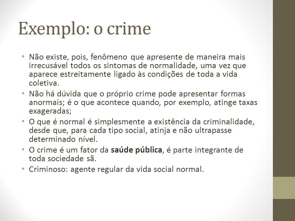 Exemplo: o crime Não existe, pois, fenômeno que apresente de maneira mais irrecusável todos os sintomas de normalidade, uma vez que aparece estreitamente ligado às condições de toda a vida coletiva.