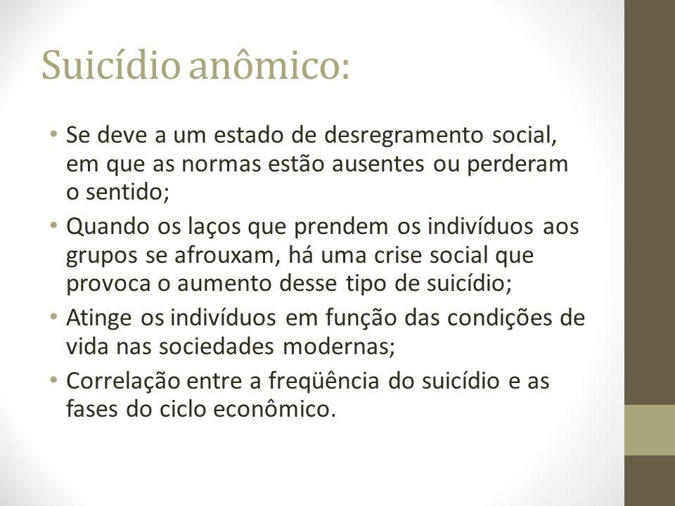 Suicídio anômico: Se deve a um estado de desregramento social, em que as normas estão ausentes ou perderam o sentido; Quando os laços que prendem os i