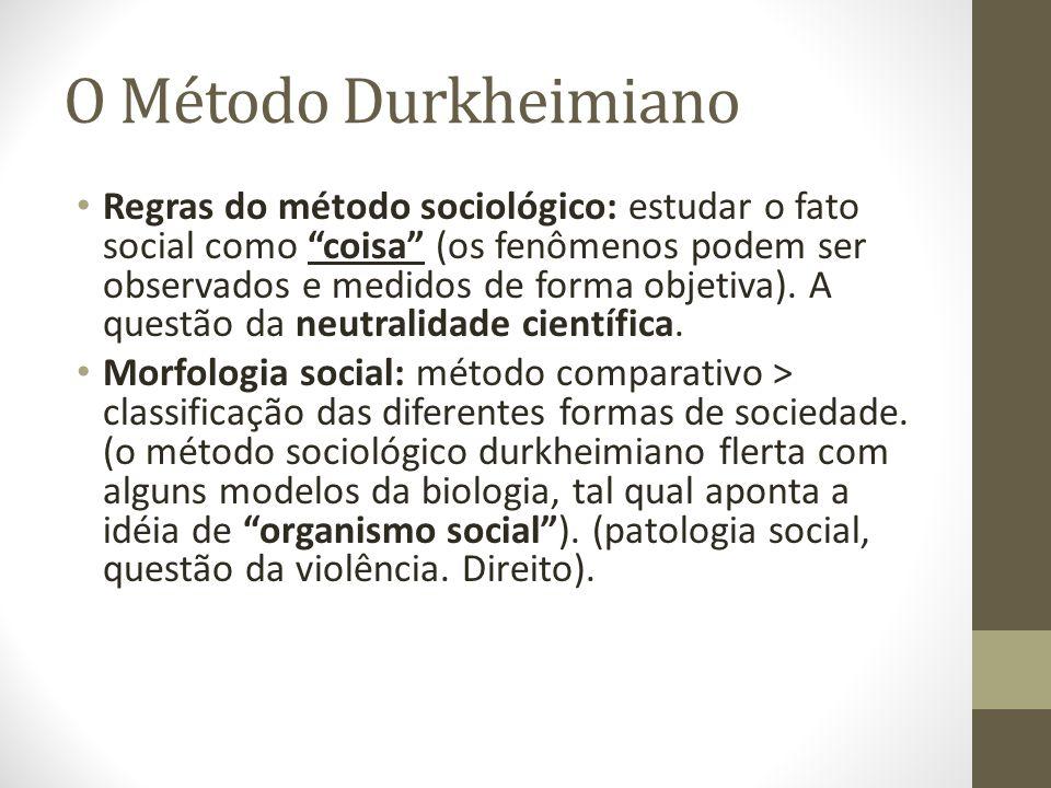 O Método Durkheimiano Regras do método sociológico: estudar o fato social como coisa (os fenômenos podem ser observados e medidos de forma objetiva).