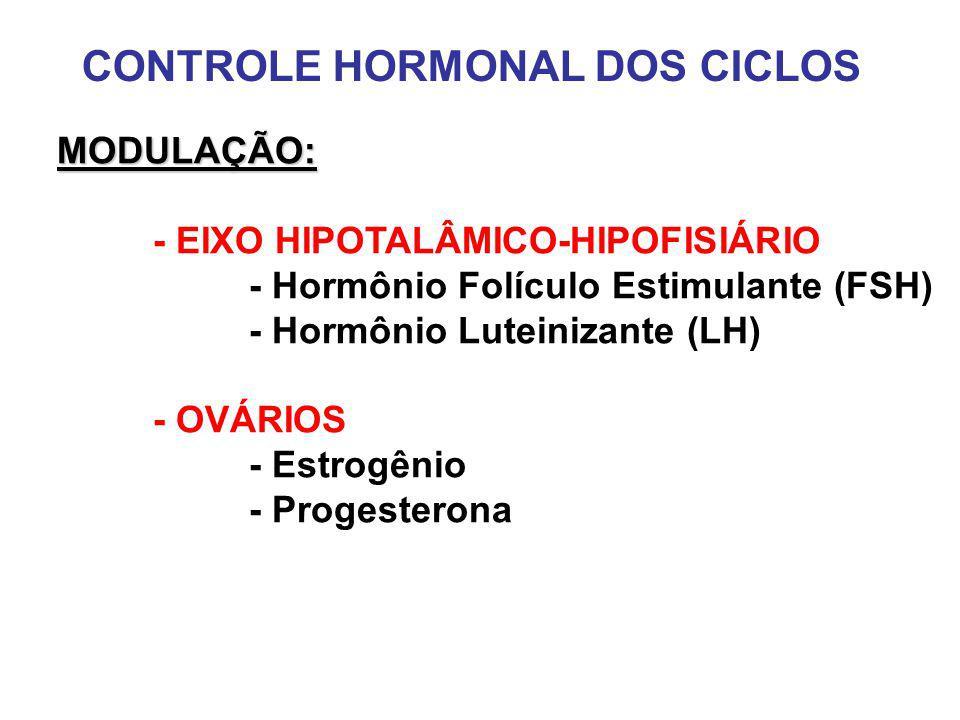 CONTROLE HORMONAL DOS CICLOS MODULAÇÃO: - EIXO HIPOTALÂMICO-HIPOFISIÁRIO - Hormônio Folículo Estimulante (FSH) - Hormônio Luteinizante (LH) - OVÁRIOS