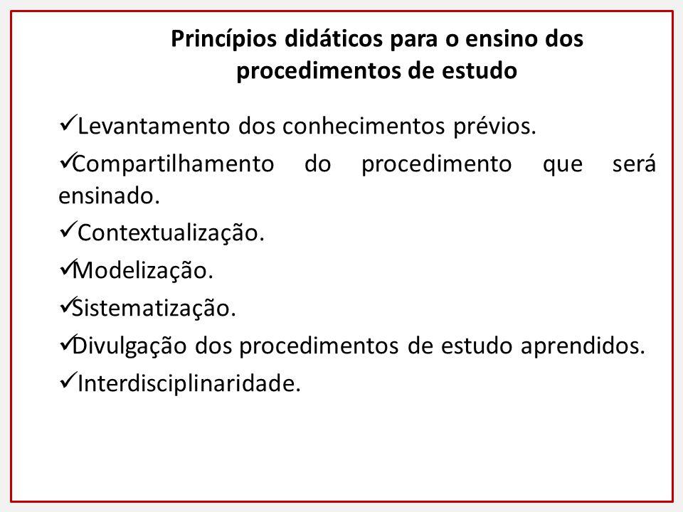 Princípios didáticos para o ensino dos procedimentos de estudo Levantamento dos conhecimentos prévios.
