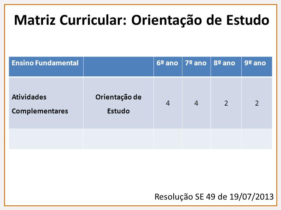 Ensino Fundamental6º ano7º ano8º ano9º ano Atividades Complementares Orientação de Estudo 4422 Matriz Curricular: Orientação de Estudo Resolução SE 49 de 19/07/2013