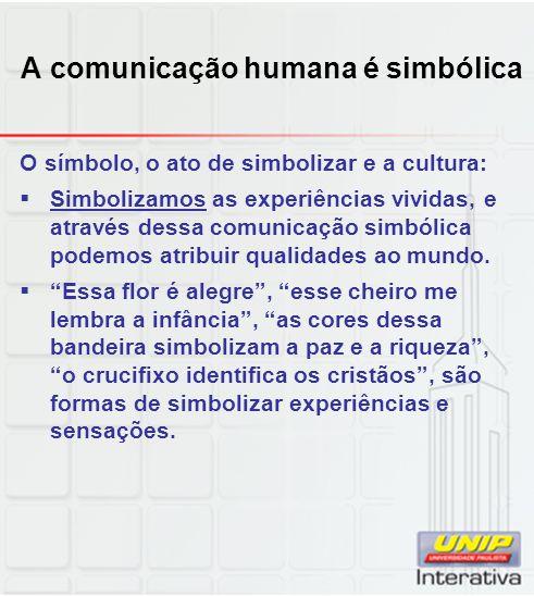 A comunicação humana é simbólica O símbolo, o ato de simbolizar e a cultura: Simbolizamos as experiências vividas, e através dessa comunicação simbóli