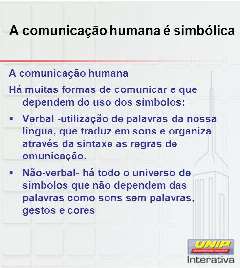 A comunicação humana é simbólica A comunicação humana Há muitas formas de comunicar e que dependem do uso dos símbolos: Verbal -utilização de palavras