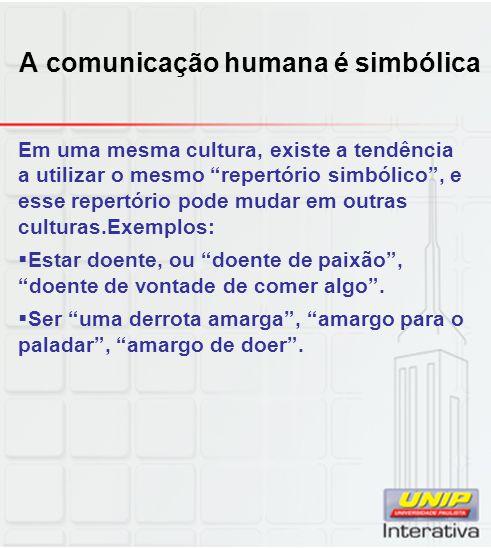 A comunicação humana é simbólica Em uma mesma cultura, existe a tendência a utilizar o mesmo repertório simbólico, e esse repertório pode mudar em out