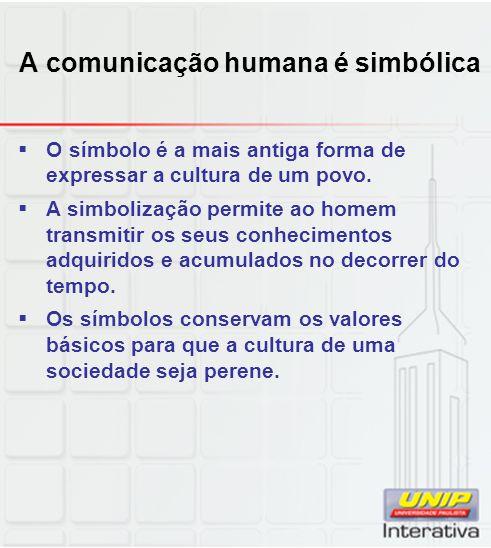 A comunicação humana é simbólica O símbolo é a mais antiga forma de expressar a cultura de um povo. A simbolização permite ao homem transmitir os seus