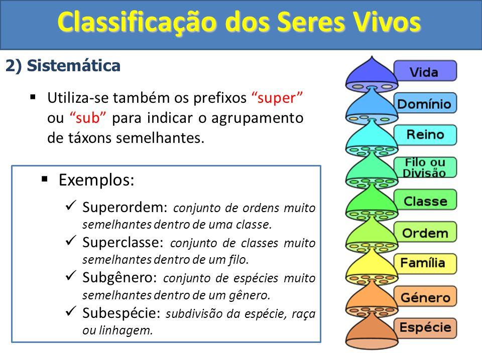 Classificação dos Seres Vivos 2) Sistemática Utiliza-se também os prefixos super ou sub para indicar o agrupamento de táxons semelhantes. Exemplos: Su