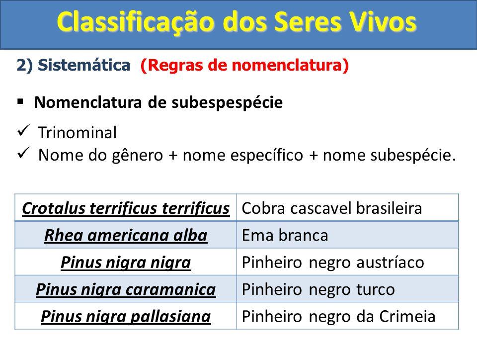 Classificação dos Seres Vivos 2) Sistemática (Regras de nomenclatura) Nomenclatura de subespespécie Trinominal Nome do gênero + nome específico + nome