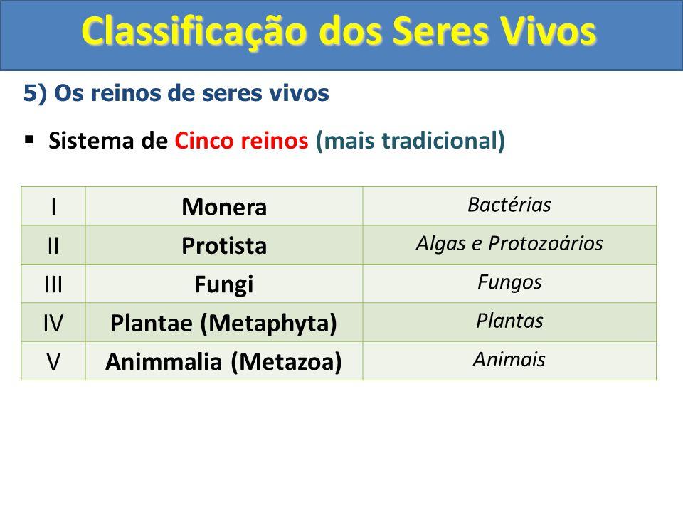 Classificação dos Seres Vivos 5) Os reinos de seres vivos Sistema de Cinco reinos (mais tradicional) IMonera Bactérias IIProtista Algas e Protozoários