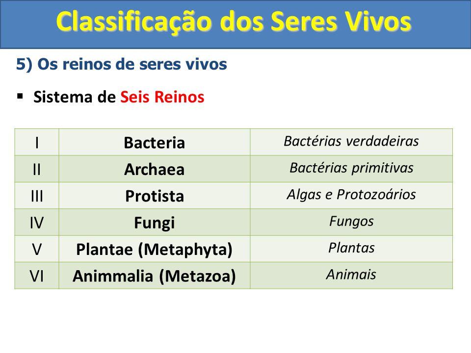 Classificação dos Seres Vivos 5) Os reinos de seres vivos Sistema de Seis Reinos IBacteria Bactérias verdadeiras IIArchaea Bactérias primitivas IIIPro