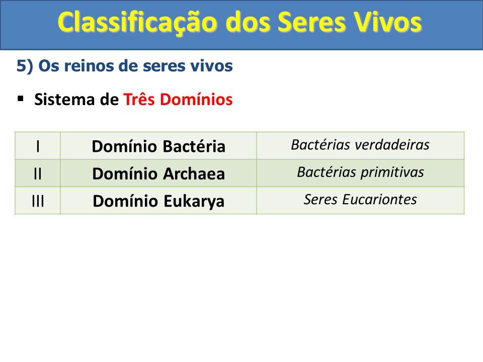 Classificação dos Seres Vivos 5) Os reinos de seres vivos Sistema de Três Domínios IDomínio Bactéria Bactérias verdadeiras IIDomínio Archaea Bactérias