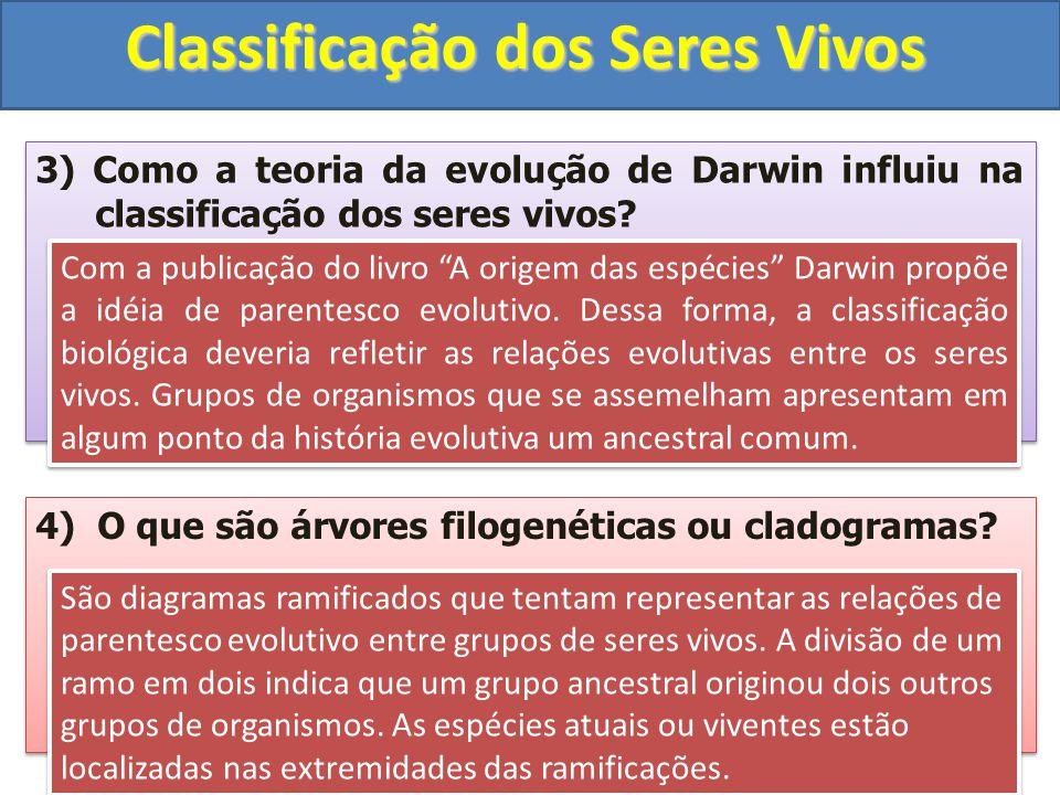 Classificação dos Seres Vivos 3) Como a teoria da evolução de Darwin influiu na classificação dos seres vivos? 4) O que são árvores filogenéticas ou c