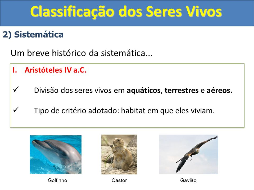 Classificação dos Seres Vivos 2) Sistemática Um breve histórico da sistemática... I. Aristóteles IV a.C. Divisão dos seres vivos em aquáticos, terrest