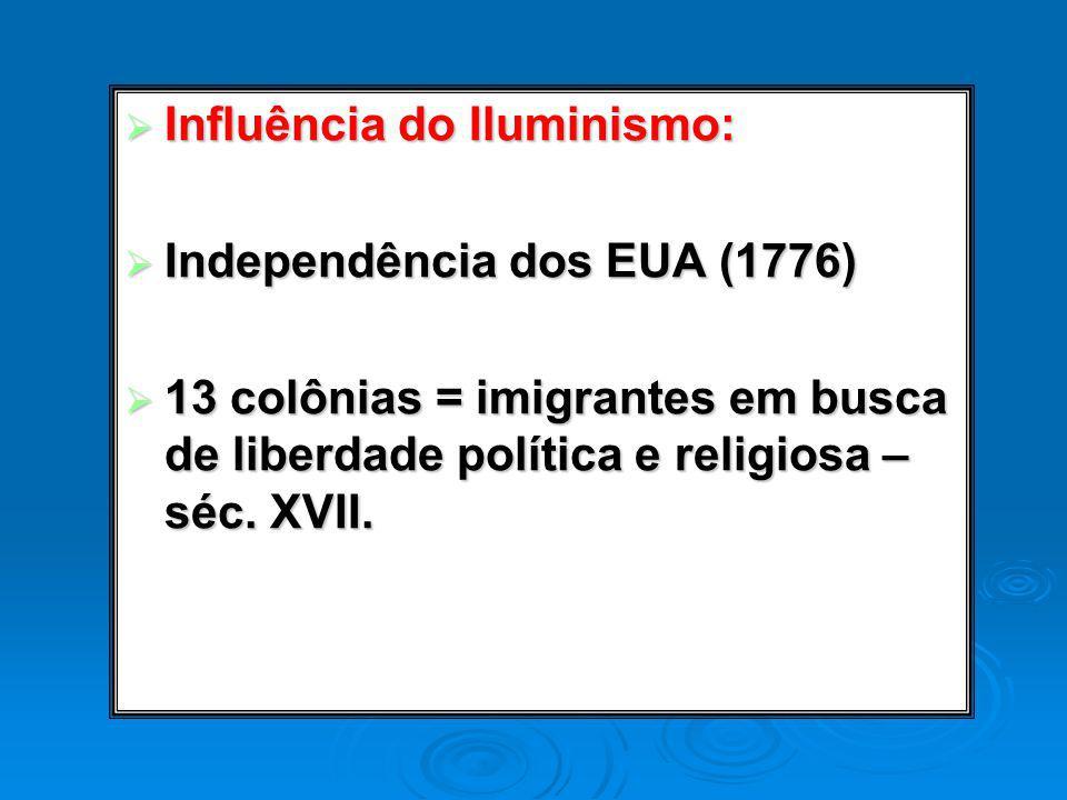 Influência do Iluminismo: Influência do Iluminismo: Independência dos EUA (1776) Independência dos EUA (1776) 13 colônias = imigrantes em busca de lib