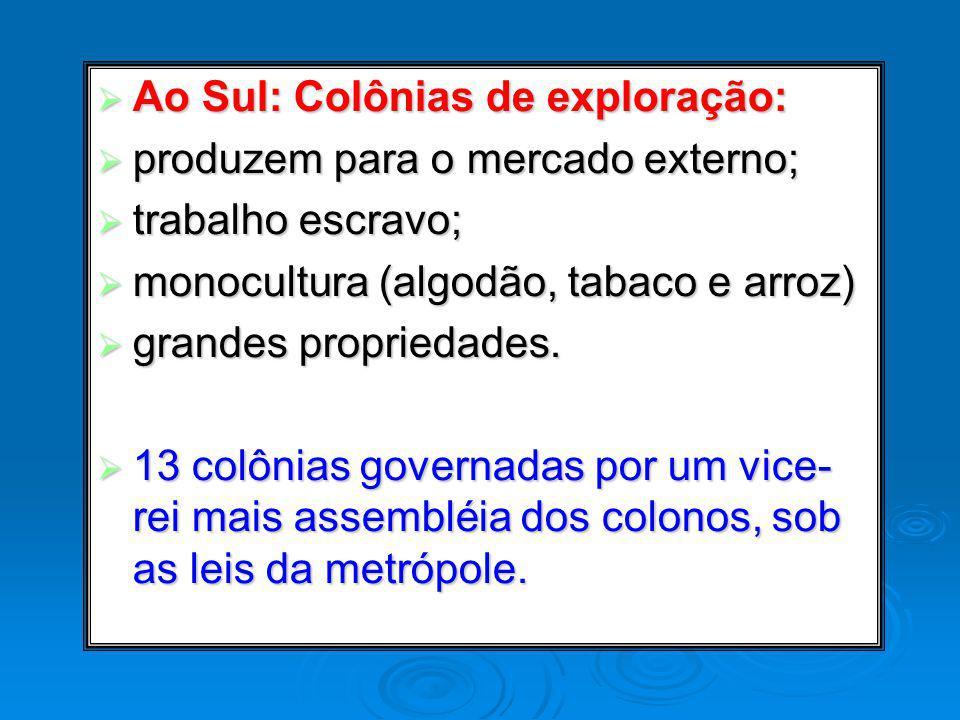 Ao Sul: Colônias de exploração: Ao Sul: Colônias de exploração: produzem para o mercado externo; produzem para o mercado externo; trabalho escravo; tr