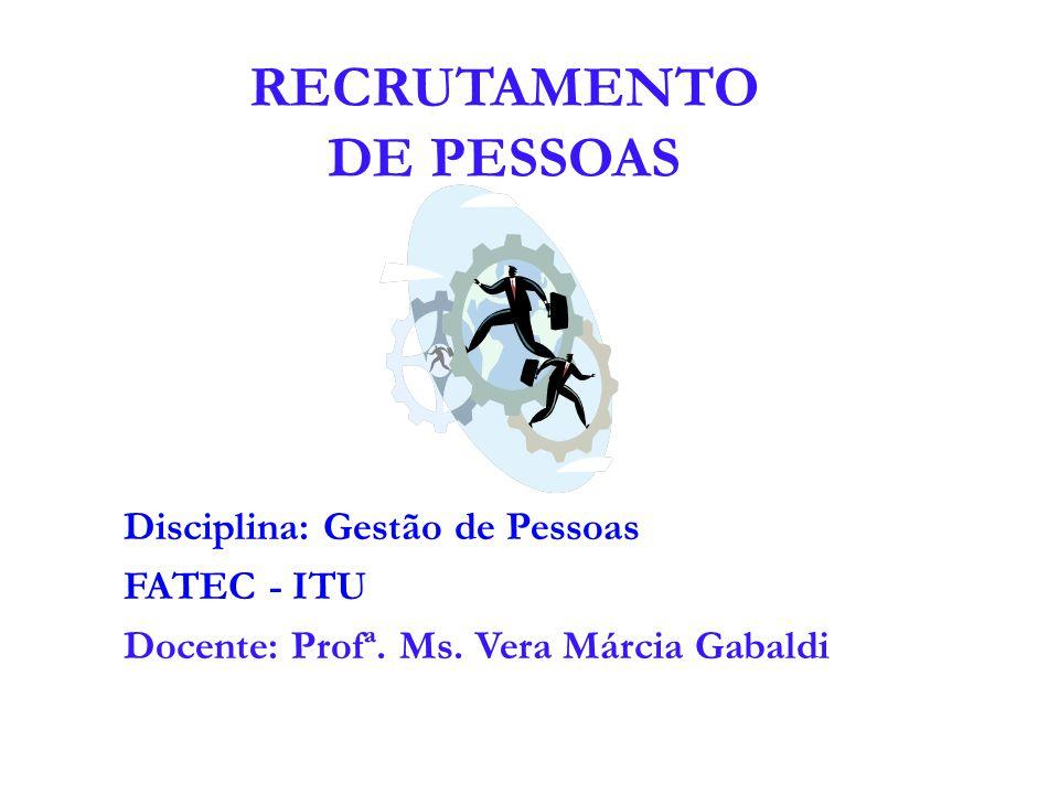 RECRUTAMENTO DE PESSOAS Disciplina: Gestão de Pessoas FATEC - ITU Docente: Profª. Ms. Vera Márcia Gabaldi