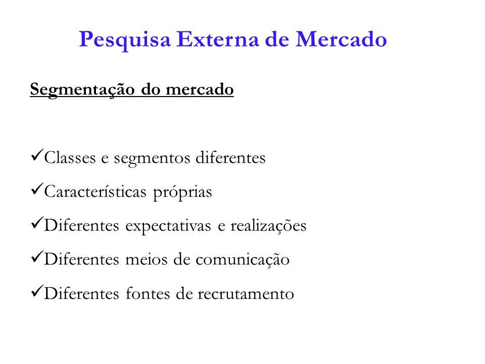 Pesquisa Externa de Mercado Segmentação do mercado Classes e segmentos diferentes Características próprias Diferentes expectativas e realizações Difer