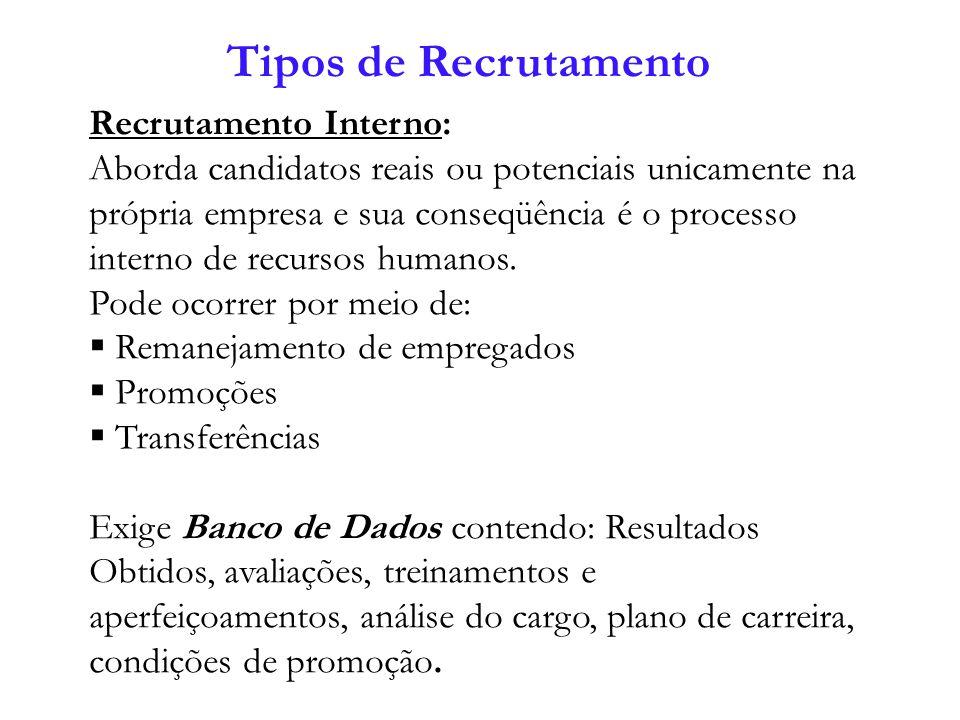 Recrutamento Interno: Aborda candidatos reais ou potenciais unicamente na própria empresa e sua conseqüência é o processo interno de recursos humanos.