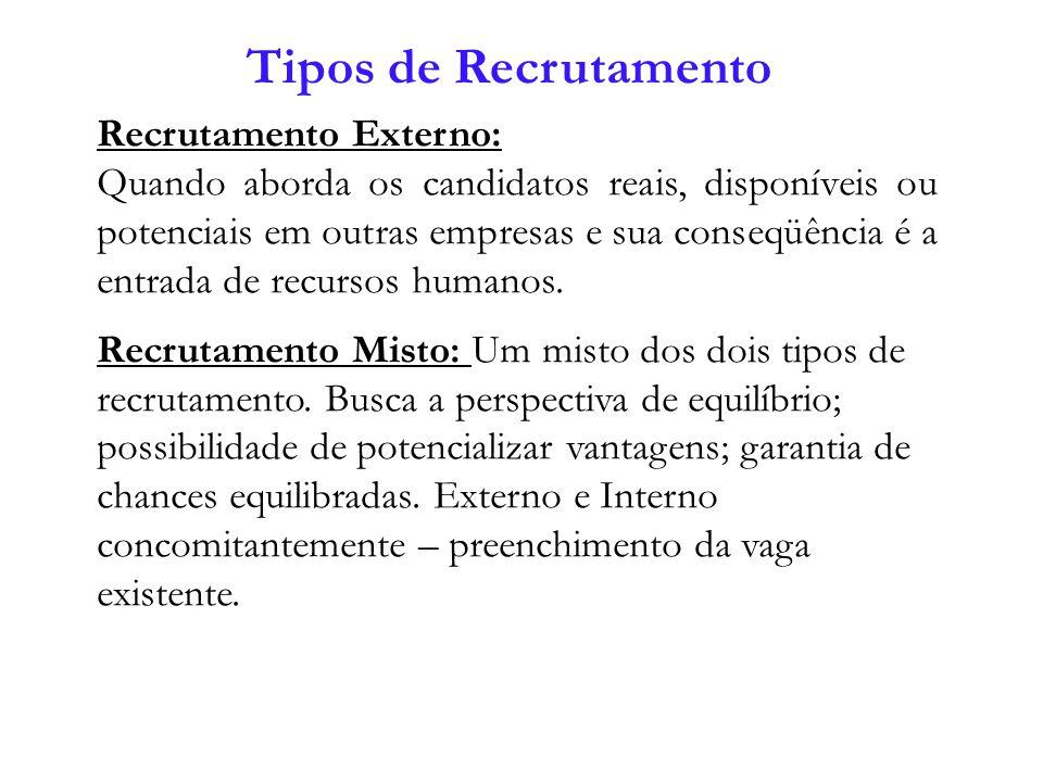 Recrutamento Externo: Quando aborda os candidatos reais, disponíveis ou potenciais em outras empresas e sua conseqüência é a entrada de recursos human