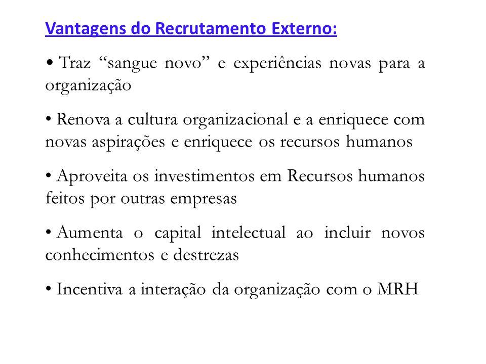 Vantagens do Recrutamento Externo: Traz sangue novo e experiências novas para a organização Renova a cultura organizacional e a enriquece com novas as