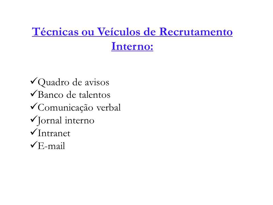 Técnicas ou Veículos de Recrutamento Interno: Quadro de avisos Banco de talentos Comunicação verbal Jornal interno Intranet E-mail