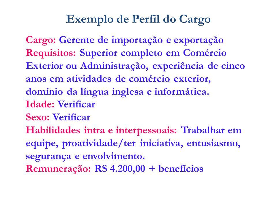 Cargo: Gerente de importação e exportação Requisitos: Superior completo em Comércio Exterior ou Administração, experiência de cinco anos em atividades