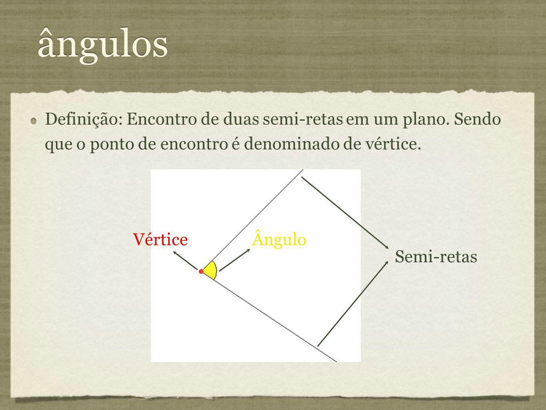 ângulos Definição: Encontro de duas semi-retas em um plano. Sendo que o ponto de encontro é denominado de vértice. Ângulo Vértice Semi-retas