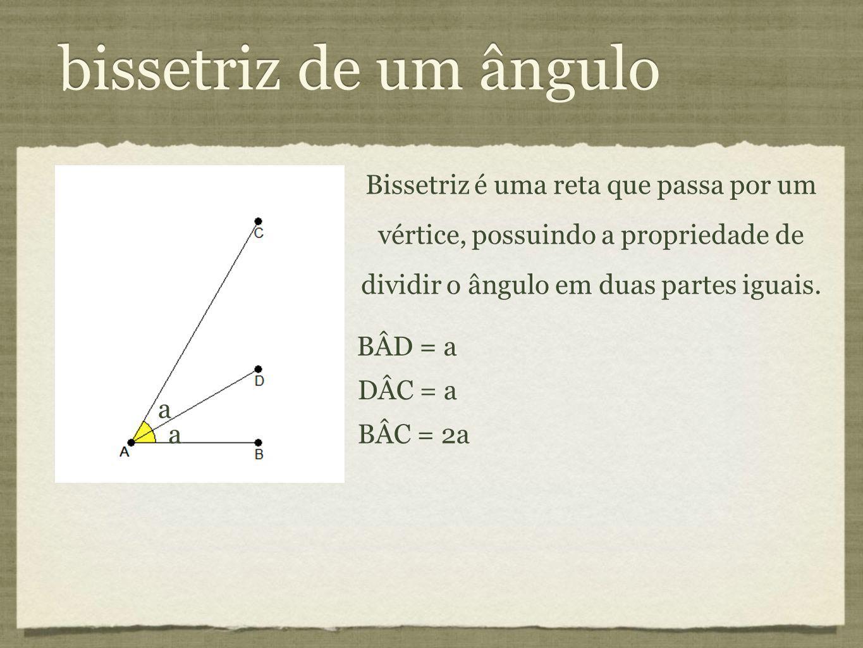 bissetriz de um ângulo Bissetriz é uma reta que passa por um vértice, possuindo a propriedade de dividir o ângulo em duas partes iguais. BÂD = a DÂC =